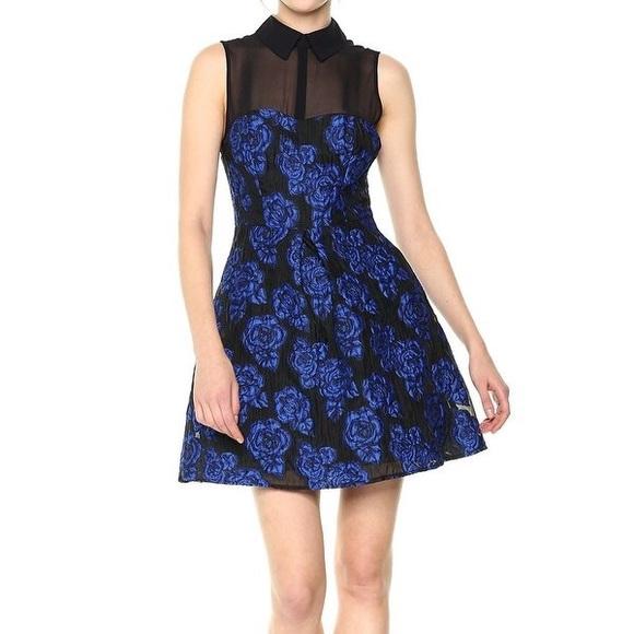 Betsey Johnson Dresses & Skirts - Betsey Johnson Blue Floral Illusion A-Line Dress